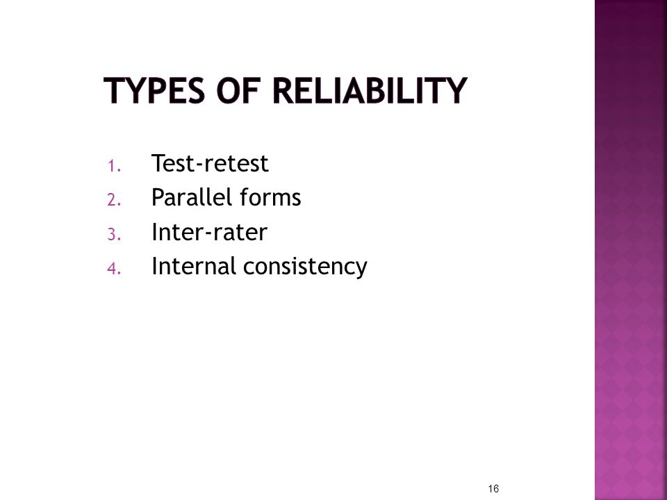 Types of Reliability Test-retest Parallel forms Inter-rater