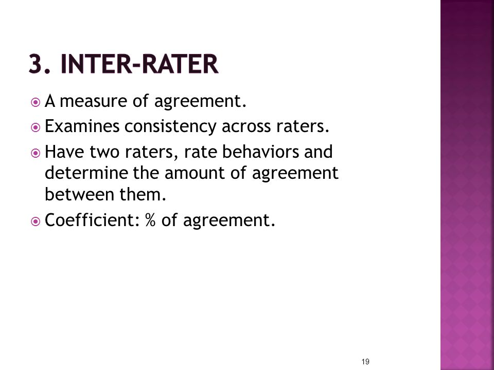 3. Inter-rater A measure of agreement.