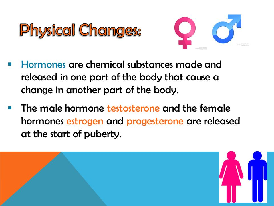 Physical Changes: Hormones are chemical substances made and released in one part of the body that cause a change in another part of the body.