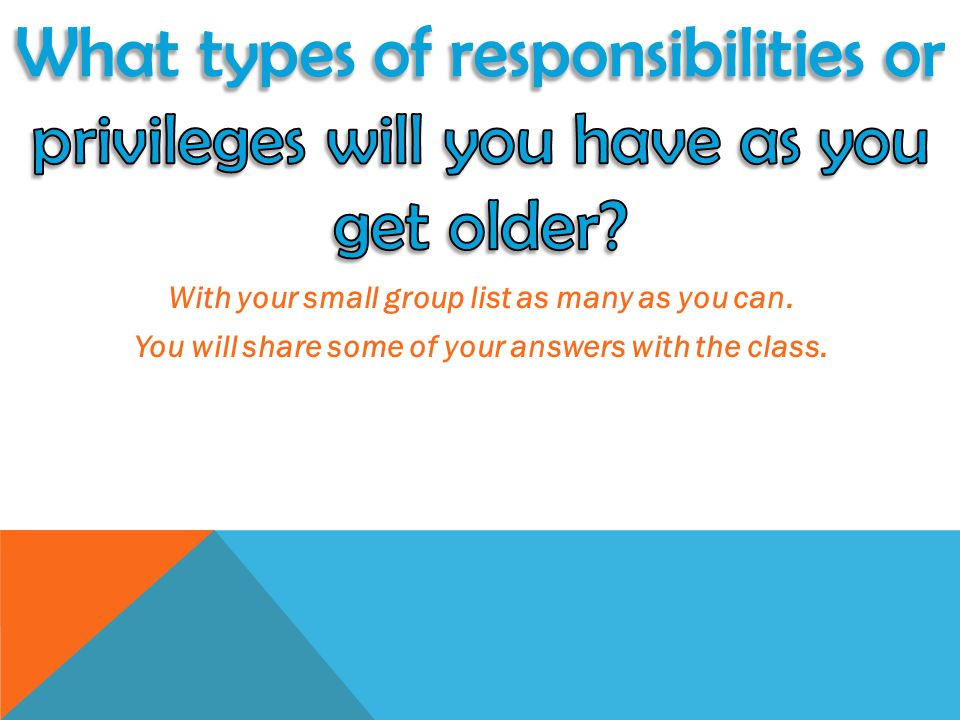 What types of responsibilities or privileges will you have as you get older