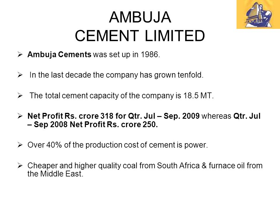Ambuja Cements Limited : By sapana agarwal shweta karan rishal bhide ppt video