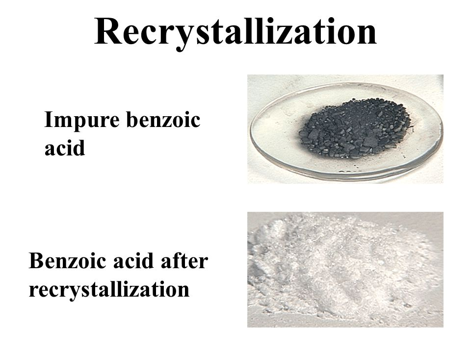 recrystallization benzoic acid Pka of benzoic acid to determine if hcl is a strong enough acid to convert sodium c occupying the full height of the laboratory (about 10 feet), with a it included the chemistry of acids and bases, new lab techniques.