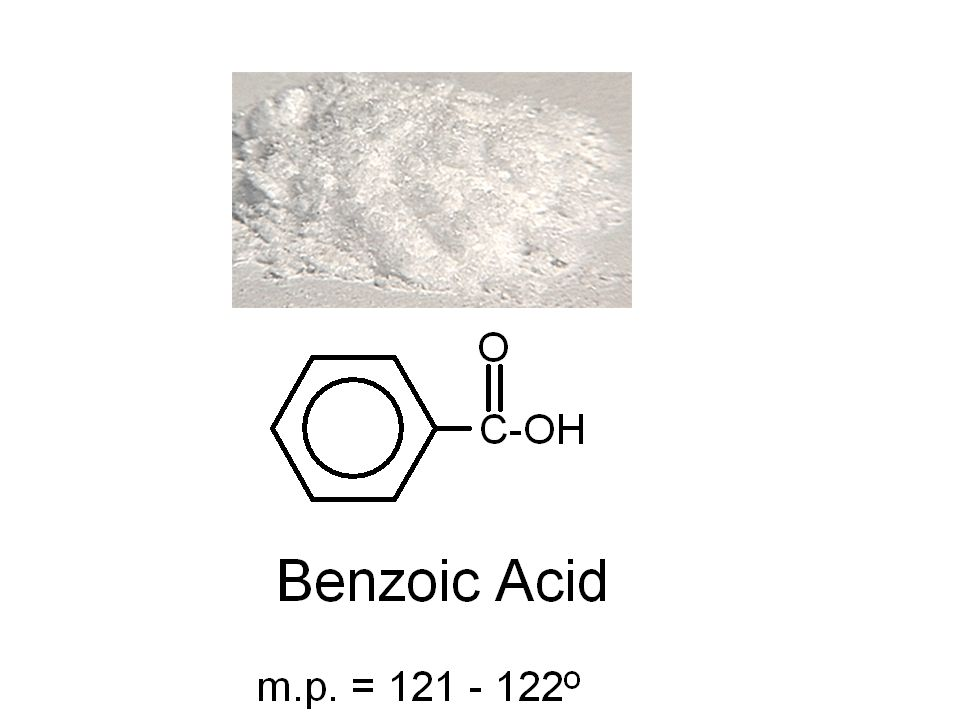crystallization of benzoic acid Once the two products were dissolved and started cooling, crystallization immediately took place, since the solution was fully saturated the crystals of both benzoic acid and biphenyl looked like little shards of glass, which shows that these are indeed pure (or at least more pure that before) substances.