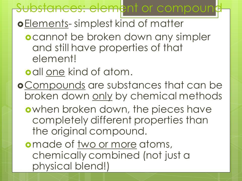 Substances: element or compound