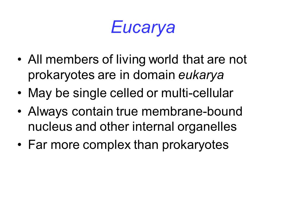Eucarya All members of living world that are not prokaryotes are in domain eukarya. May be single celled or multi-cellular.