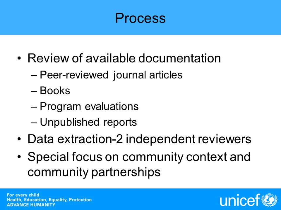 Process Review of available documentation
