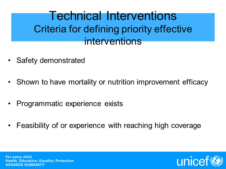 Technical Interventions Criteria for defining priority effective interventions