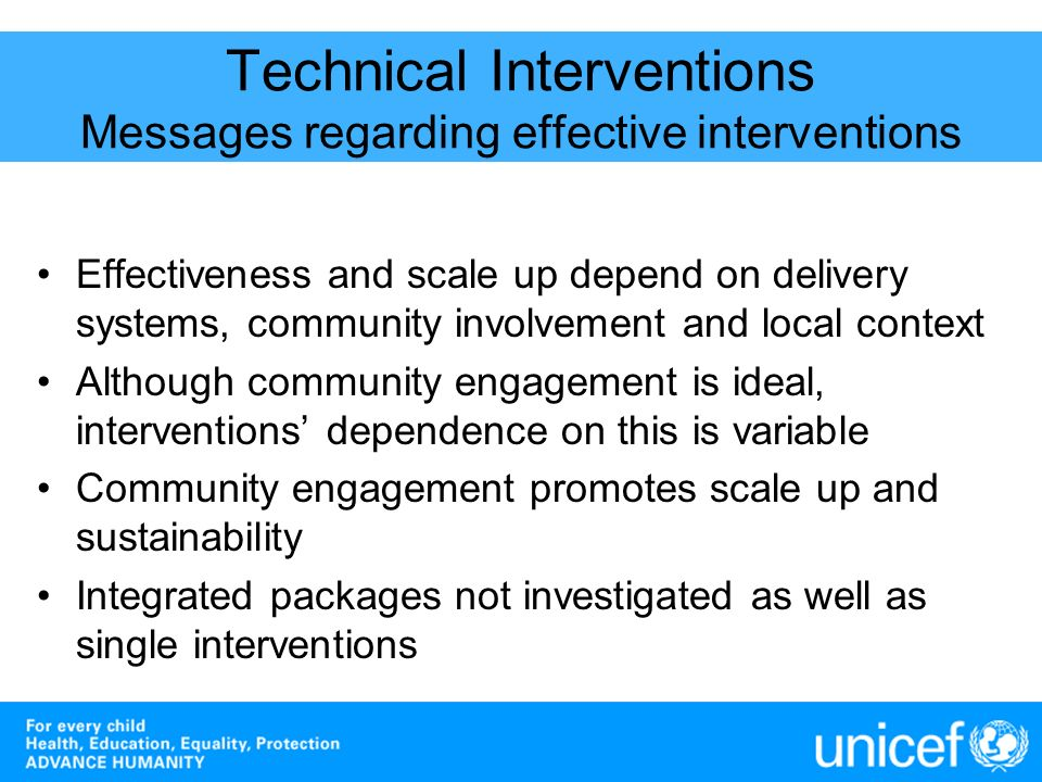Technical Interventions Messages regarding effective interventions