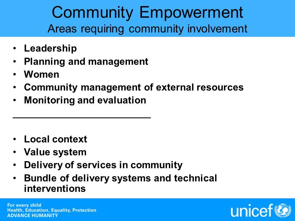Community Empowerment Areas requiring community involvement
