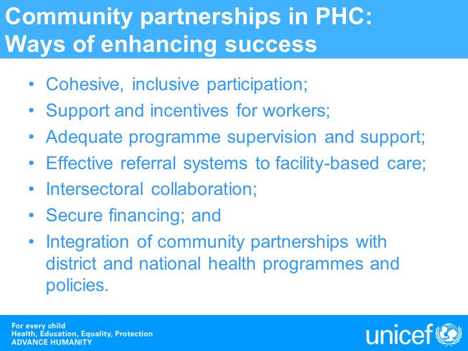 Community partnerships in PHC: Ways of enhancing success