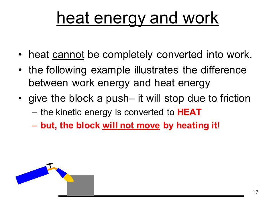 heat energy and work heat cannot be completely converted into work.