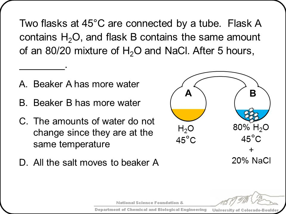 Two flasks at 45°C are connected by a tube