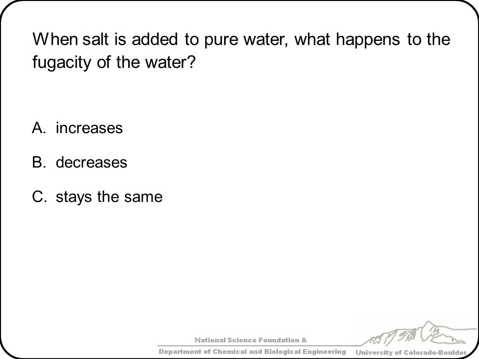 When salt is added to pure water, what happens to the fugacity of the water