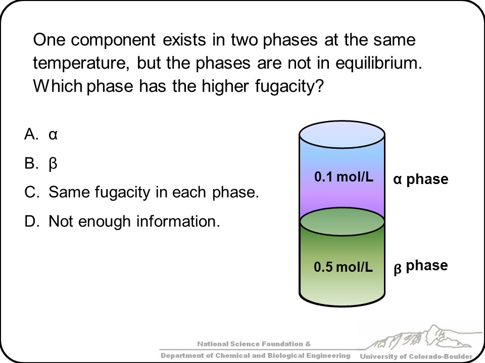 One component exists in two phases at the same temperature, but the phases are not in equilibrium. Which phase has the higher fugacity