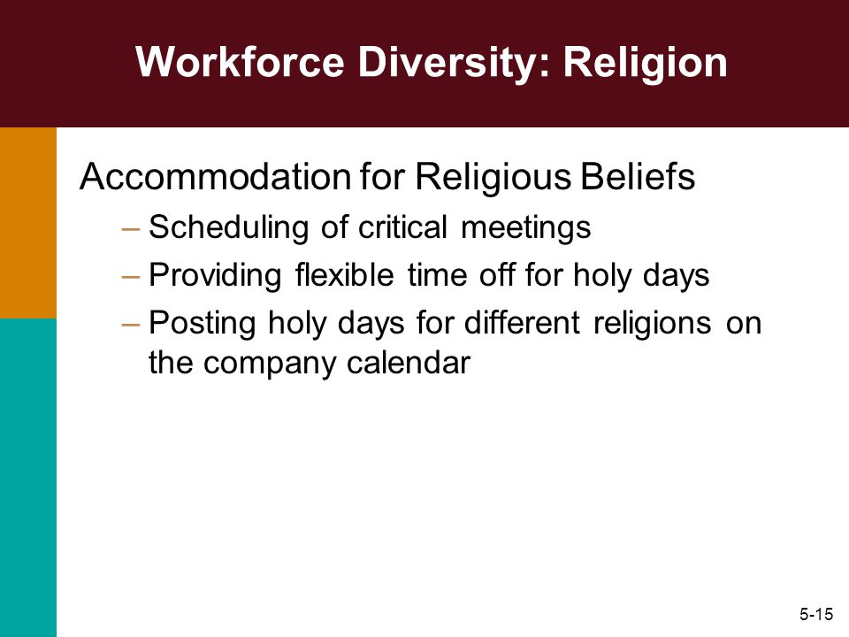 """religion and diversity management The october 2008 report, religion and corporate culture: accommodating religious diversity in the workplace, notes that nearly two-thirds of respondents (64 percent) said they have """"some."""