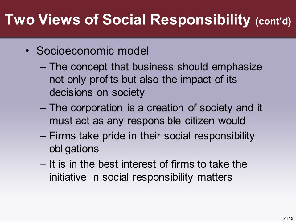 arguments for and against business being socially responsible Arguments for social responsibility there are several core ideas about social responsibility of business over the period of time, the things have changed too much giving new thoughts and replacing the classical economic view of profit maximization in the business.