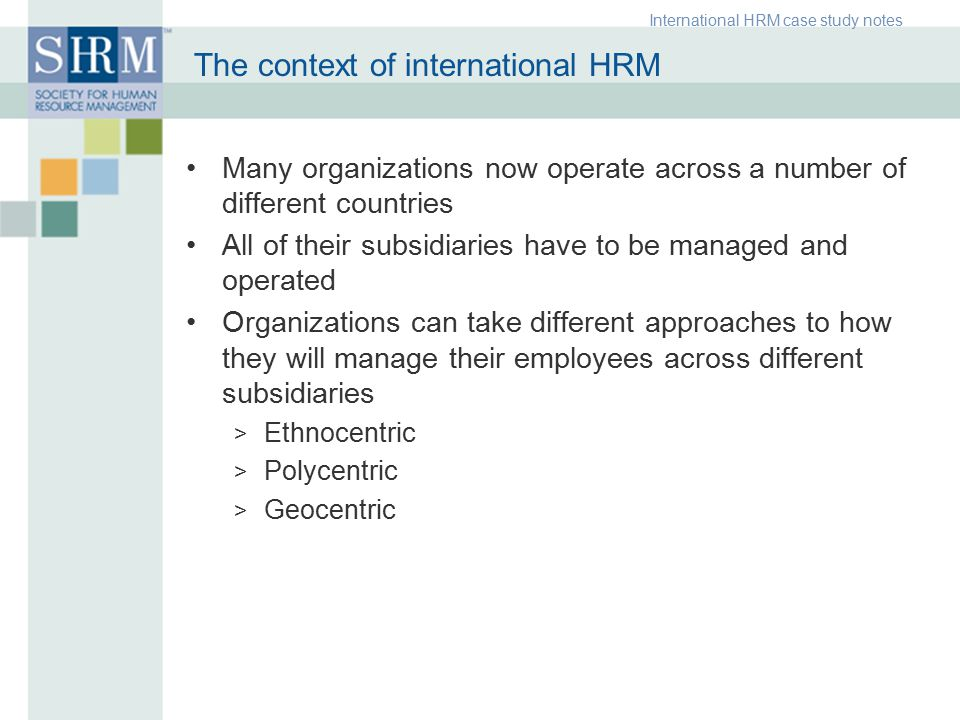the global context of hrm and Our new global human resource management msc will help you become a  highly  solve human management problems within the context of the  international.