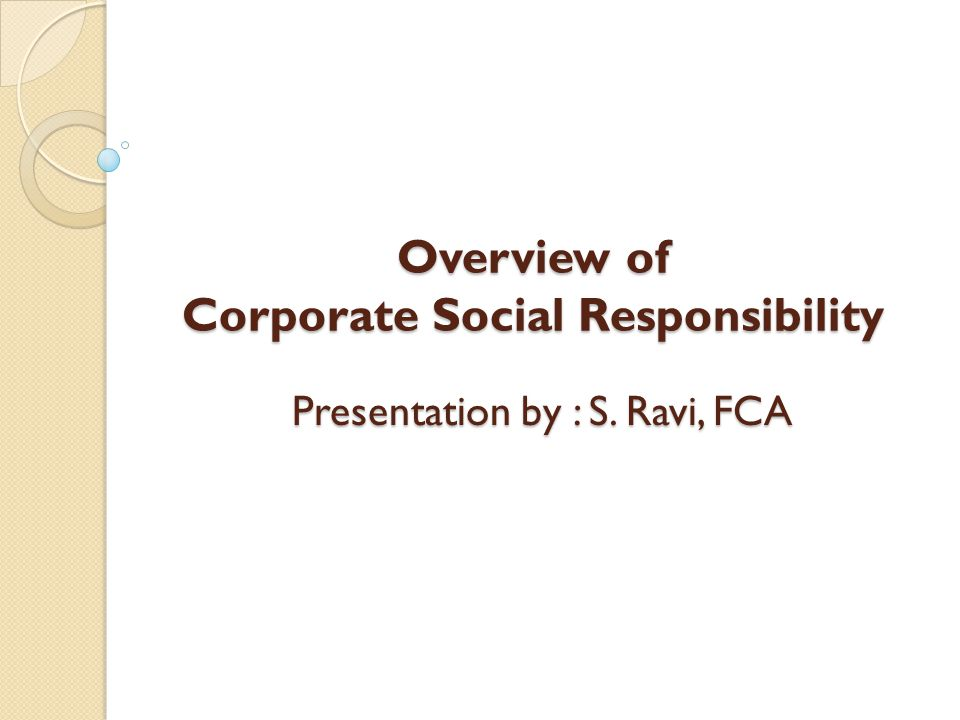 Overview of Corporate Social Responsibility