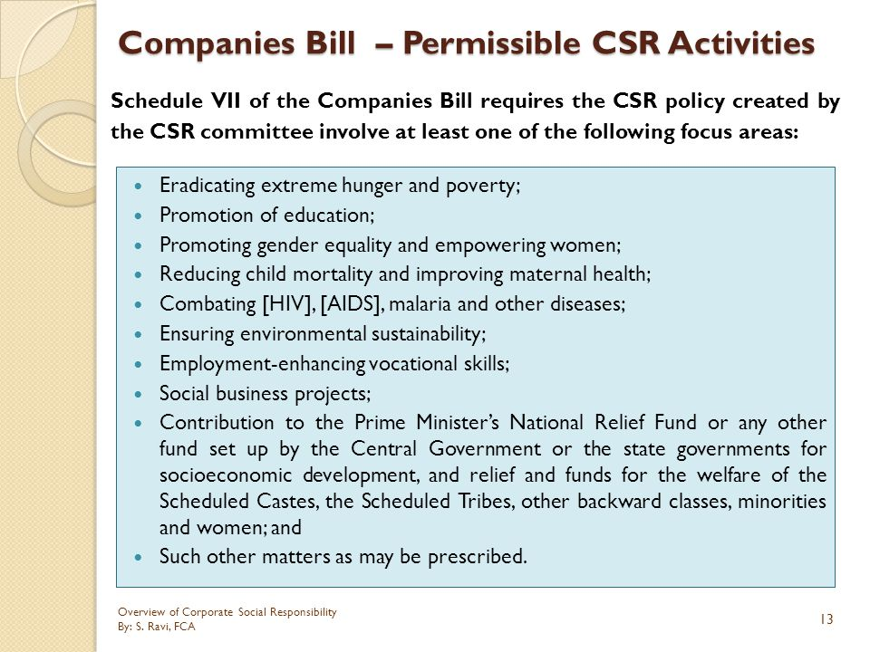 Companies Bill – Permissible CSR Activities