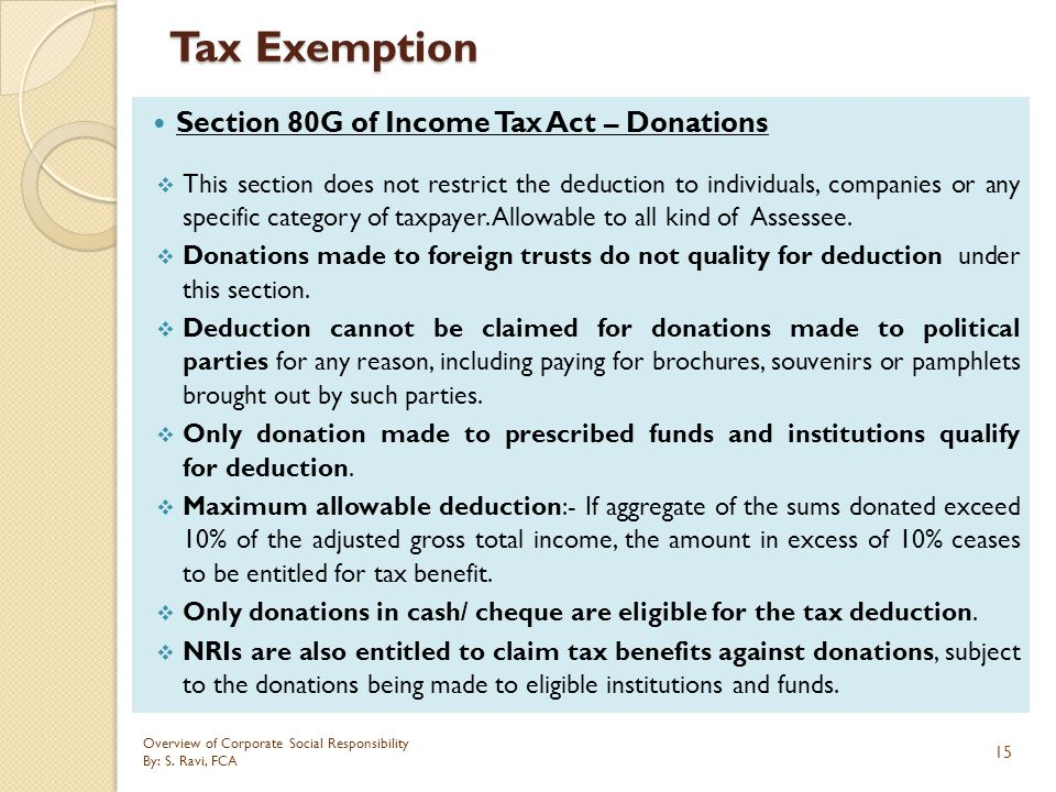 Tax Exemption Section 80G of Income Tax Act – Donations