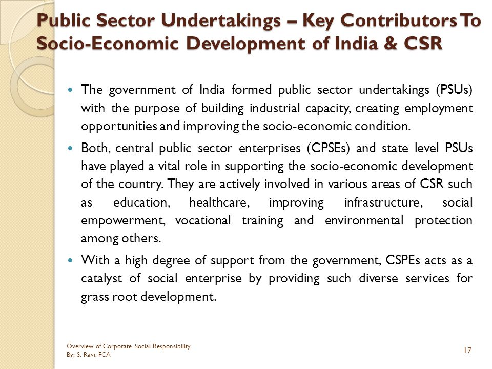 Public Sector Undertakings – Key Contributors To Socio-Economic Development of India & CSR
