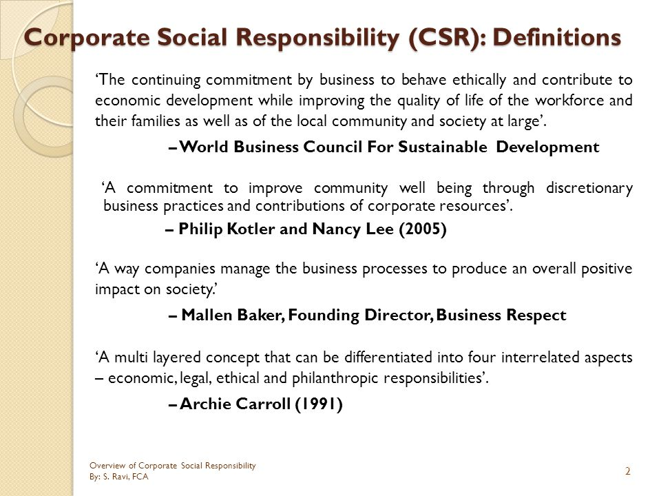 Corporate Social Responsibility (CSR): Definitions