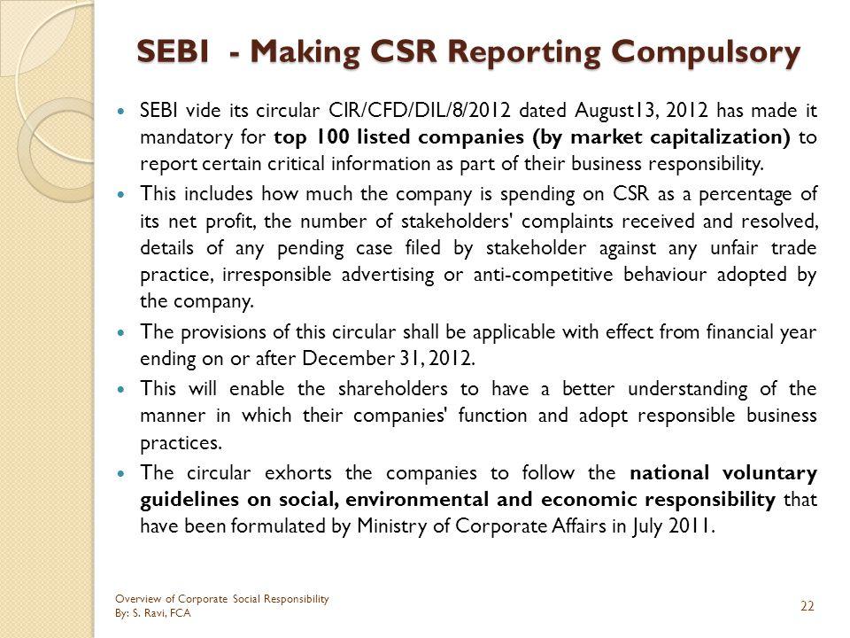 SEBI - Making CSR Reporting Compulsory