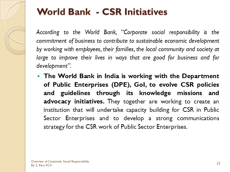 World Bank - CSR Initiatives
