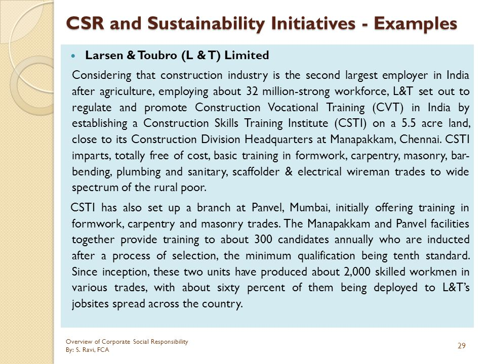 CSR and Sustainability Initiatives - Examples
