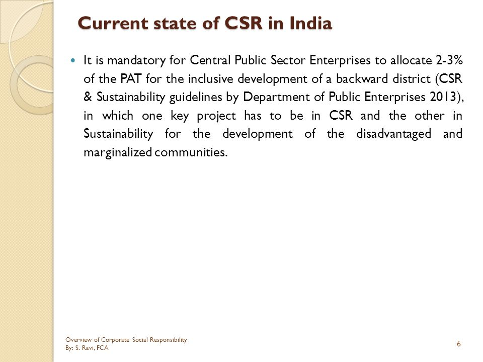 Current state of CSR in India