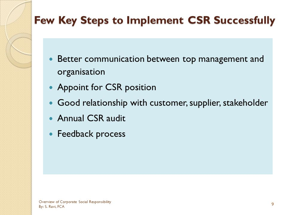 Few Key Steps to Implement CSR Successfully