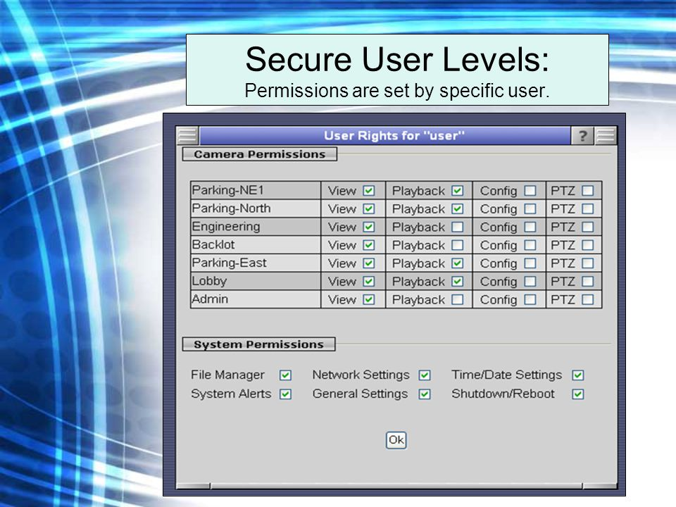 Secure User Levels: Permissions are set by specific user.
