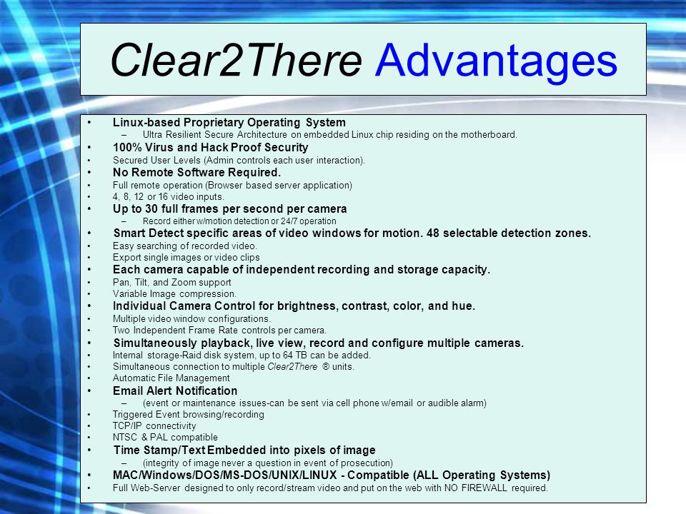 Clear2There Advantages