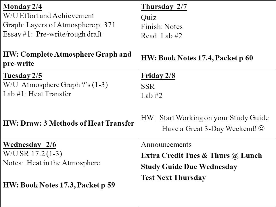 Announcements Extra Credit Tues & Lunch. Study Guide Due Wednesday. Test Next Thursday. Wednesday 2/6.