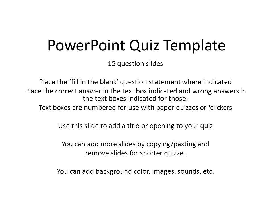 Powerpoint Quiz Template Ppt Video Online Download
