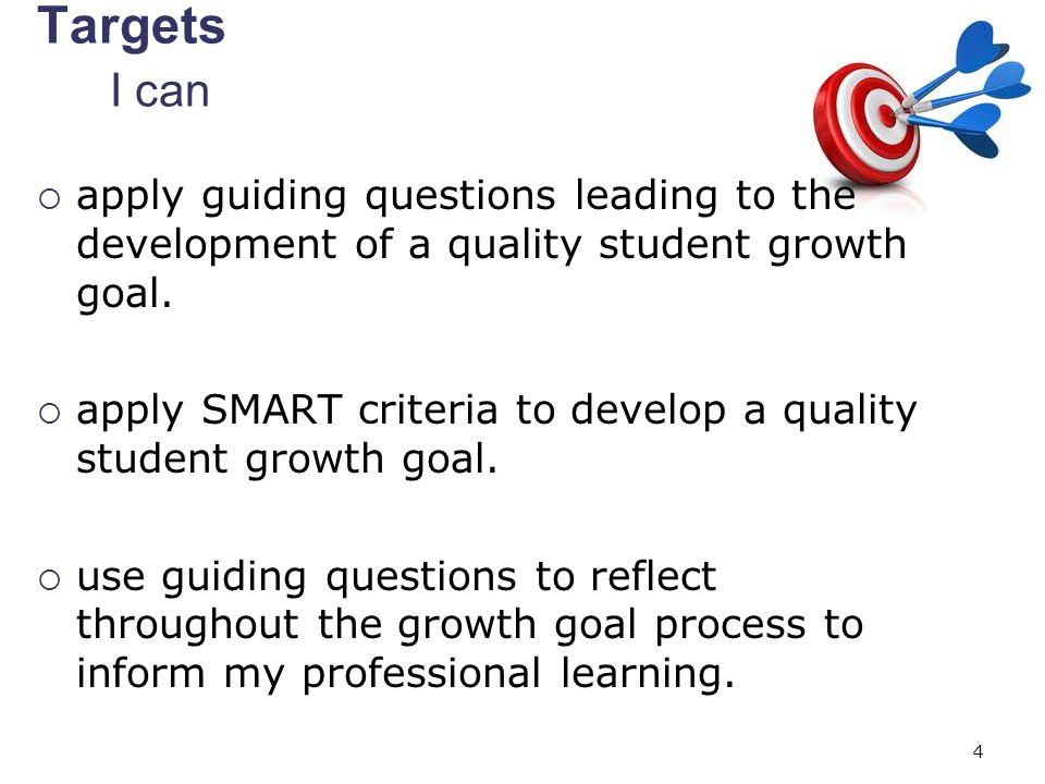 apply SMART criteria to develop a quality student growth goal.