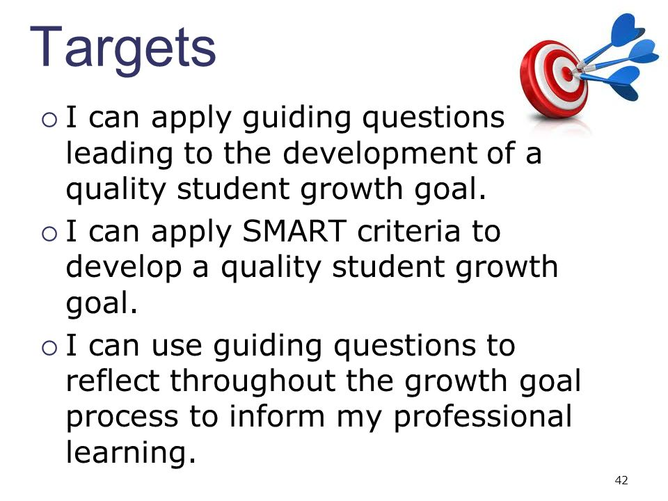 I can apply SMART criteria to develop a quality student growth goal.