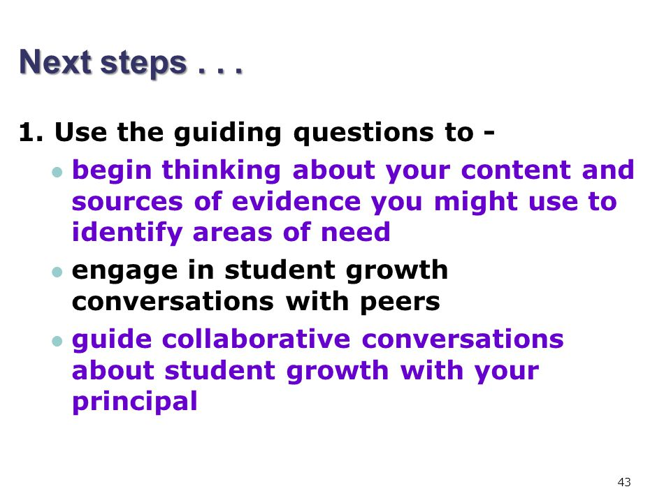 Next steps Use the guiding questions to -