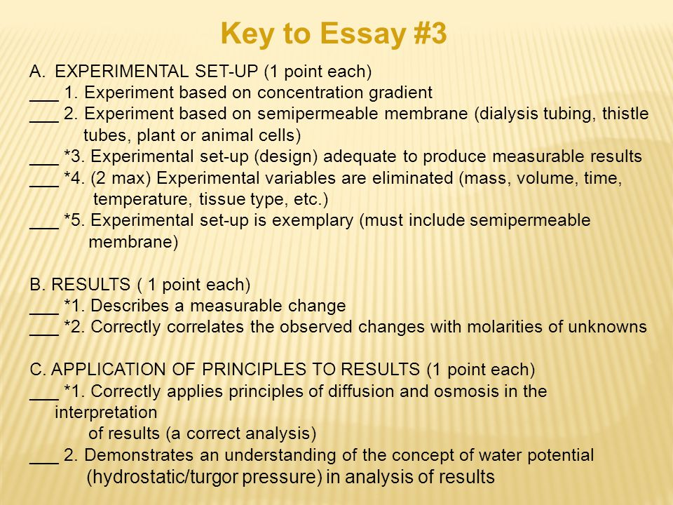 essay prompt ap bio question ppt  key to essay 3 hydrostatic turgor pressure in analysis of results