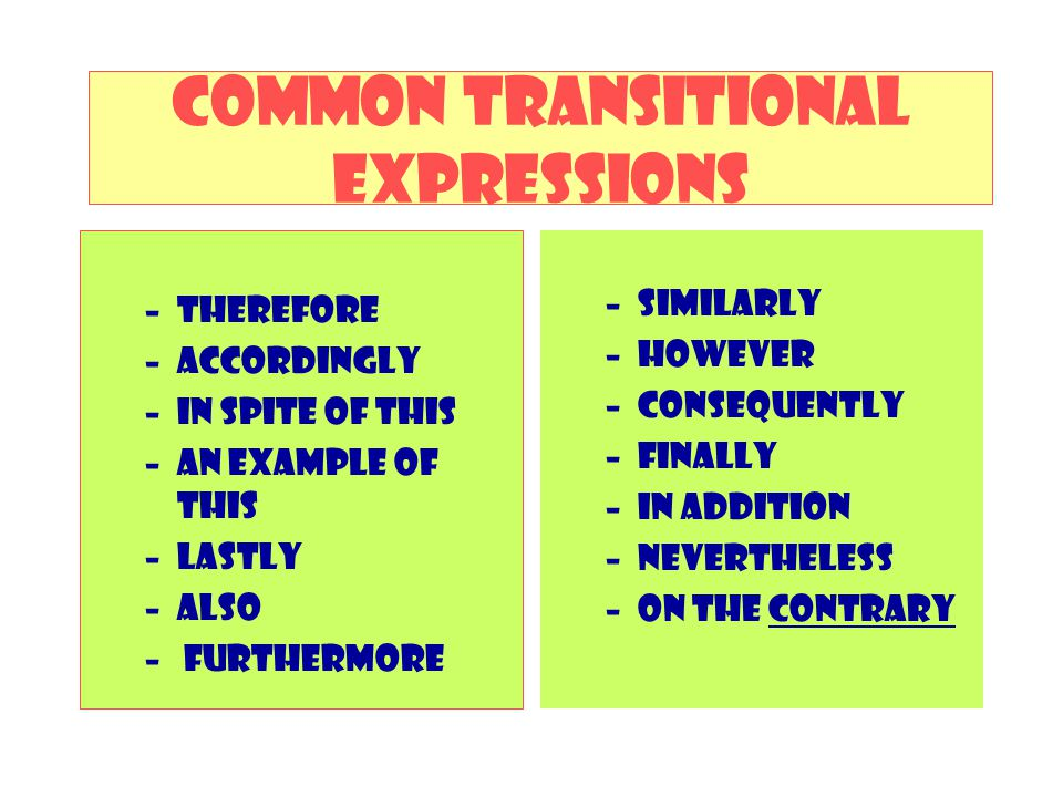 Common transitional expressions