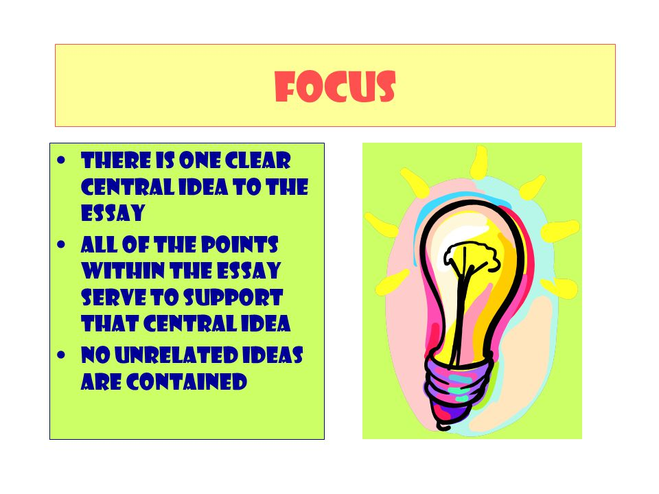 FOCUS There is one clear Central idea to the essay