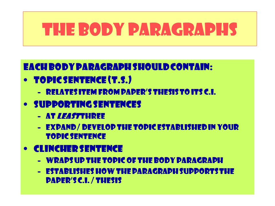 The Body Paragraphs Each body paragraph should contain: