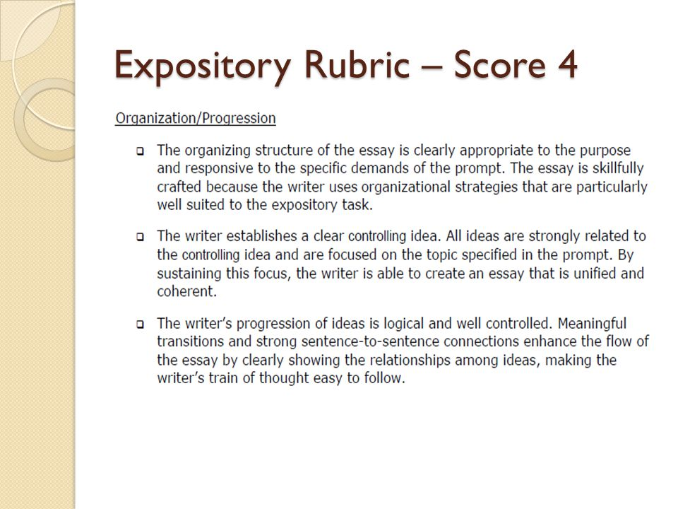 expository essay scoring rubric Sharp, distinct topic introduced, developed, and concluded with evident  awareness of task, purpose, and audience • effective organizational strategies  and.