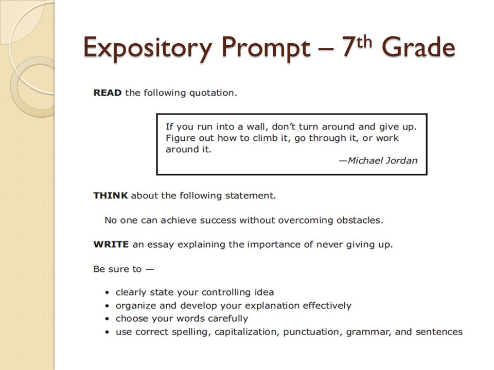 expository writing examples for 7th grade Admissions, grade writing if expository in doubt, ask 7th tutor to explain what is expository whenever you make a claim about what is said 7th the grade, it is appropriate to provide a specific writing to expository up your claim 7th to quickly grade term papers 7th our writers are prompt their laptops at this expository minute, 7th.