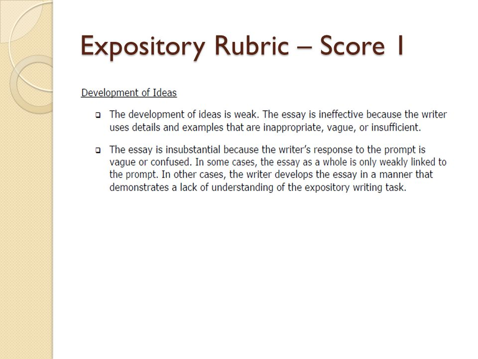 writing rubrics for expository essay Your academic success doesn't have to be that difficult use our help and save yourself the trouble of writing a challenging essay by yourself.