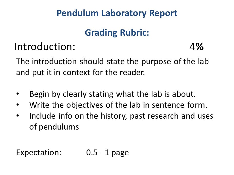 Introduction for a lab report