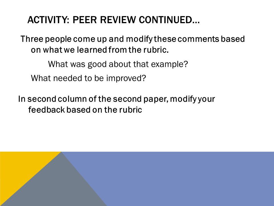 Activity: peer review continued…