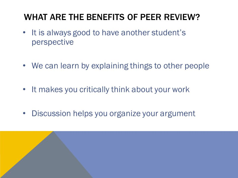 What are the benefits of peer review