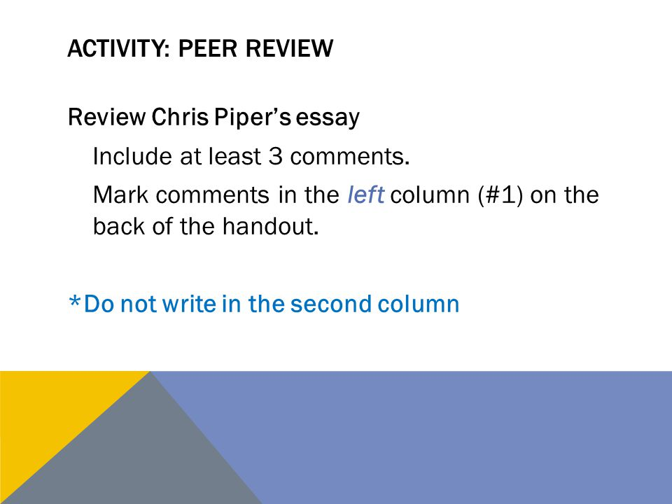 Activity: Peer review
