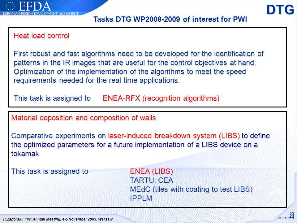 DTG Tasks DTG WP2008-2009 of interest for PWI Heat load control